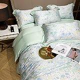 Exlcellexngce Bettbezug 200x200cm,Blumen Duvet Cover Set Tencel Bettwäsche Bunte Blumen Bettlaken Gedruckt Ultra Weiche seidige 4pcs Bettbezug Bettlaken Kissen-Ist_1,8m Bett (4 stücke)