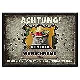 Personalisierte Fußmatte Bedrucken mit Wunschfoto und Wunschname der Katze - Geschenkidee für Katzenbesitzer - für eine Katze, 75 x 50 cm