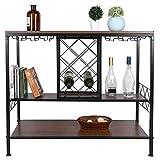 Zerone Weinständer Freistehender Vintage, 3 Etagen Weinregal Weinschrank mit Glashalterung für Küche Esszimmer Bar, 39.7 x 105 x 88.5 cm