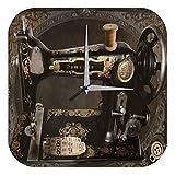 LEotiE SINCE 2004 Wanduhr mit geräuschlosem Uhrwerk Dekouhr Küchenuhr Baduhr Retro Nähmaschine Oldschool Wand Acryl Uhr Vintage Nostalg