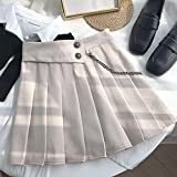 Damen Rock Harajuku A-Linie Rock Solide Casual Frauen Koreanische Sommer Hohe Taille Miniröcke Damen Süße Kawaii Faltenröcke Kette Punk L Weiß