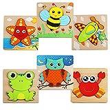 6 Stück Holzpuzzle,3D Holzpuzzle Kinder Steckpuzzle Holz Spielzeug,Holzpuzzle Lernspielzeug Pädagogisches Geschenk Spielzeug für Jungen und Mädchen