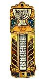 Jüdischen Mesusa Fall mit Scroll Menora Holz & Edelsteine Israel Judaica Tür Round 510,2cm