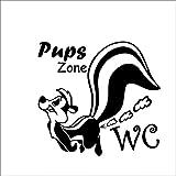 WC Toiletten Wandtattoo'Pups Zone' von greehome Türaufkleber WC Spruch Dekoration lustig Tür Aufkleb