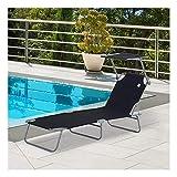 plhzh Sonnenliege Gartenliege Wellnessliege Strandliege faltbar mit Sonnenschutz (schwarz)