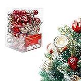 Yorbay Weihnachtskugeln 77er Premium Set mit Baumspitze und Aufhänger aus Kunststoff in Rot und Hellgold, Weihnachtsdeko für Weihnachten, Weihnachtsbaum (Mehrweg)