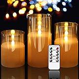 ICDOT Mirror Led Kerzen mit Timerfunktion,4in 5in 6in 3er Set LED Kerzen,Flammenlose Kerzen im Glas,Batteriebetriebene elektrische Kerzen mit beweglichen Wick Dancing F