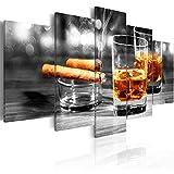 murando - Bilder Zigarre und Whisky 200x100 cm Vlies Leinwandbild 5 TLG Kunstdruck modern Wandbilder XXL Wanddekoration Design Wand Bild - Alkohol Bar Drink Holzoptik 030106-15
