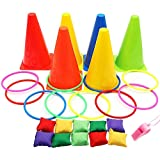 bulrusely Kegel Sitzsäcke Ringwurfspiel Spielausrüstung Set Ringwurf mit weichen Zapfen Sitzsäcke zum Werfen Puzzle-Spiel Pack Karneval Spiele Set