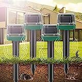 [4 Stück] Solar Maulwurfschreck, Ultraschall Solar Maulwurfabwehr, Wühlmausschreck mit IP56 Wasserdicht, Tiervertreiber, Maulwurfbekämpfung, Mole Repellent, Schädlingsbekämpfung für Gartenhöfe