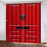 MXYHDZ Blickdicht Vorhang für Schlafzimmer - Rote Türdruck - 3D Druckmuster Öse Thermisch isoliert - 220 x 215 cm - 90% Blickdicht Vorhang für Kinder Jungen Mädchen Spielzimmer