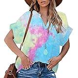Oberteile Damen Sommer Locker, Tie-Dye Druck V-Ausschnitt Kurzarm T-Shirts, Teenager Mädchen Casual Lose Blume Tee Shirts Tops Hemd Tunika
