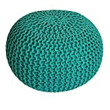 Voglrieder Sitzpouf Strickhocker Grobstrick handgeknüpft Ø 55 cm grün