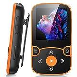AGPTEK MP3 Player Bluetooth 5.0 Sport 32GB mit 1,5 Zoll TFT Farbbildschirm, Mini Musik Player mit Clip, Unterstützt bis 128GB SD Karte, mit unabhängiger Lautstärketaste, Orange