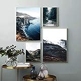 LLXXD Nordische Moderne Art Broad Mountain Peak Landschaft Poster Kunst Leinwand Bilder für Wohnzimmer dekorative Malerei 30x40x2 50x70x2 (kein Rahmen)