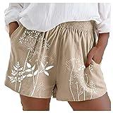 Gansadie Shorts für Damen, lässig, Sommer, aus Baumwolle und Leinen, mit Blättern, bedruckt, Baumwolle, einfarbig, Strand-Shorts Gr. M, kaki