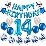 Oumezon 14 Geburtstag Dekoration Blau, 14 Geburtstag deko für Mädchen Jungen Happy Birthday Girlande Banner Folienballon Konfetti Luftballons Deko Geburtstag Party Anzahl Ballons