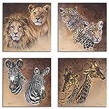 Artland Leinwandbilder auf Holz Wandbild Bild Set 4 teilig je 20x20 cm Quadratisch Tiere Malerei Braun Afrika Löwen Leoparden Zebra Giraffen S7EZ