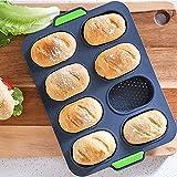 HBAUAJIA 8 heiße perforierte Silikon-Brotformen, antihaftbeschichtet, französisches Brot-Tablett, perforiertes Tablett, lebensmittelechtes Silikon