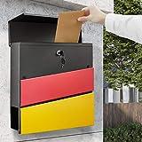 DIY Moderner Briefkasten Verzinkter Stahl mit Zeitungsfach, WOOHSE Postkasten Mailbox mit A4 Einwurf-Format, Abschließbarer Wandbriefkasten Inkl. 2 Schlüsseln, BxHxT: 368 x 365 x 100mm