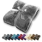 Gräfenstayn® Kuscheldecke flauschig & super weich - hochwertige Fleecedecke auch als Wohndecke, Tagesdecke, Sofadecke & Sommerdecke geeignet - Überwurf Decke Sofa & Couch (Grau, 240x220 cm)