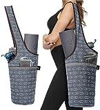 Ewedoos Yoga Taschen aus Baumwoll-Canvas für meisten yogamatte & Yoga-Zubehör (Kunstgrau)
