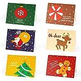 Weihnachtskarten, 24 Sätze Premium Weihnachtskarten mit Umschlag &Aufkleber, Weihnachten Karte Postkarte, Weihnachtspostkarte für Weihnachtsgrüße an Familie, Freunde, Kunden Frohe Weihnachten(B)