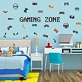 Wandtattoo Gamer | Wandsticker für Junge Schlafzimmer,Gaming Zone Wand Aufkleber, Spieler mit Controller,Aufkleber Wandtattoo für Schlafzimmer Home Playroom Deko,Videospiel Wandaufkleb