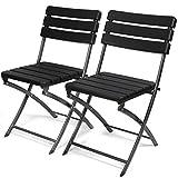 Park Alley Gartenstuhl in schwarz - klappbare Gartenstühle im 2er Set - hochwertige Klappsessel in Holzoptik - Hochlehner - pflegeleichter Klapp