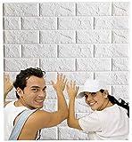 Arthome 3D-Wandpaneele mit weißem Ziegelstein, zum Abziehen und Aufkleben, Tapete für Wohnzimmer, Schlafzimmer, Hintergrund, Wanddekoration (10 Stück, Weiß 5,3 m²)