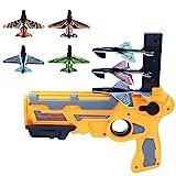 Schießspiel Spielzeug für Kinder, Bubble Catapult Flugzeug, Ein-Klick-Auswurf Modell Schaum Flugzeug, mit 4 Stk. Segelflugzeug Flugzeug Launcher-Fun Outdoor-Spielzeug für Kinder (Gelb)