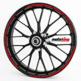 Felgenrandaufkleber GP im GP-Design passend für 17 Zoll und 16' 18' 19' Felgen für Motorrad, Auto & mehr - Rot
