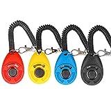 Diyife Hunde Clicker, 4 Stück Trainings-Clicker mit Handschlaufe, Klicker mit Großem Knopf, Hundeerziehung und Hundetraining, für Hund, Katze, Pferd (Multi-Color)