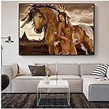 Weiqiaolian Leinwandbild, Motiv: Indianer-Figur, abstraktes Mädchen, Poster und Druck, Wandkunst, Bild für Wohnzimmer, Heimdekoration (60 x 90 cm), 61 x 91 cm, kein Rahmen
