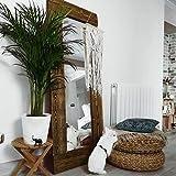 Hannun - Akake Spiegel, 165x65cm   Handgefertigter Spiegel mit Massivholz-Rahmen, rustikaler und eleganter Holzspiegel, Farbe: Antik Walnussholz