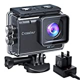Action Cam 4K/50FPS, Crosstour CT9500 Unterwasserkamera, WiFi Helmkamera 40M Wasserdicht EIS 2X1350mAh Akkus und Akkuladeg
