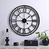 Große Retro-Wanduhr aus Metall, leise, nicht tickend, batteriebetrieben, Vintage, römische Ziffern, rund, moderne Uhren für Wohnzimmer-Dek