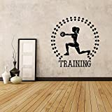 Gym Sport Langhantel Workout Motivation Frauen Leichtathletik Training Gewichtheben Raum Vinyl Aufkleber Aufkleber A9 57x60cm