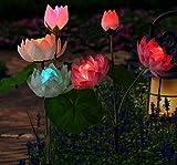 Etechydra Solarleuchte Garten Lichter für Außen, Solarlichter Garten Blumen Lampen, Wasserdichte Solarleuchte für Garten Rasen Patio Solarlichter, Außen Lotus Solarlampe Licht Außenbeleuchtung