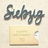 Perleberg Geburtstagskarte zum 70. Geburtstag Lettering Surprise - Siebzig - 15 x 15 cm, 7783006-2