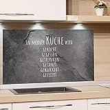 GRAZDesign Wandpaneele Küche Steinoptik, Fliesenspiegel Küche lustiger Spruch, Glasrückwand Küche Granitoptik, Küchenrückwand Glas Familienspruch / 80x50