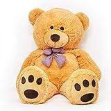 Lumaland Riesen XXL Teddybär Plüsch Kuschelbär Kuscheltier mit Kulleraugen 120 cm Hellbraun