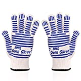 Zhongsheng Grillhandschuhe Ofenhandschuhe - Hitzefeste BBQ Handschuhe Topfhandschuhe Professionelle Zertifizierte Küchenhandschuhe 500°C 923°F (Blau (2 STÜCKE))