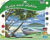 MAMMUT 109104 - Malen nach Zahlen Landschaftsmotiv, Palmenstrand, Komplettset mit bedruckter Malvorlage im A3 Format, 10 Acrylfarben und Pinsel, großes Malset für Kinder ab 8 Jahre