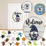 GNOME Türhänger Saisonale Willkommensschild mit austauschbaren Feiertagsstücken für Haustür Veranda hängen handgefertigt,Welcome Door Sign,Gifts,Decorations