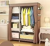 H-basics Stoffschrank 105x45x170 cm - in Braun - Faltschrank Kleiderschrank mit Seitentaschen, Regalen und Kleiderstange für Indoor und Outdoor