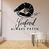 WERWN Shrimp Wandtattoos Meerestiere frische Lebensmittel Logo Türen und Fenster Vinyl Aufkleber Meeresfrüchte Restaurant Restaurant Innendekoration Wandbild