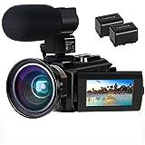 Videokamera 4K Camcorder Ultra HD Wi-Fi Digitalkamera 48MP IR-Nachtsicht 16X Digitalzoom Recorder 3,0' IPS Touchscreen Vlog-Kamera für YouTube mit Mikrofon, Weitwinkelobjektiv, 2 B