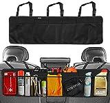 zaroso Kofferraum Organizer fürs Auto/KFZ Netztaschen [100x30cm] Klett Befestigung   Kofferraum Tasche mit Gepäcknetzen in Schwarz