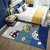 JXILY Heimteppich, Kreative Fußmatten Netter Autoteppich Rechteckiger Teppich - fürs Wohnzimmer Schlafzimmer Esszimmer Oder Kinderzimmer,Blau,80X120cm